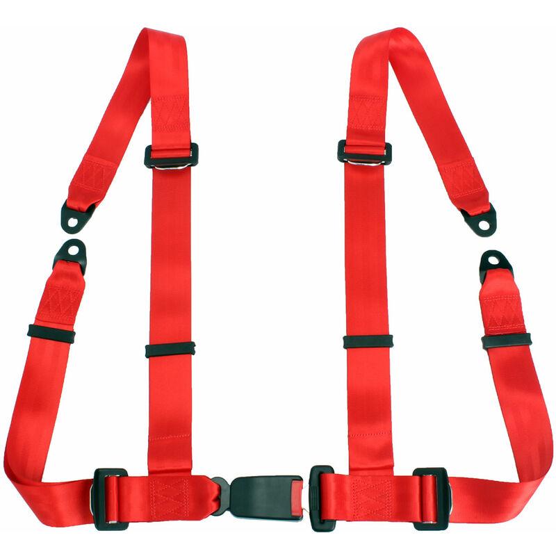 Harnais universel de ceinture de sécurité de voiture de course de sport de dégagement rapide de 4 points rouge noir (rouge)