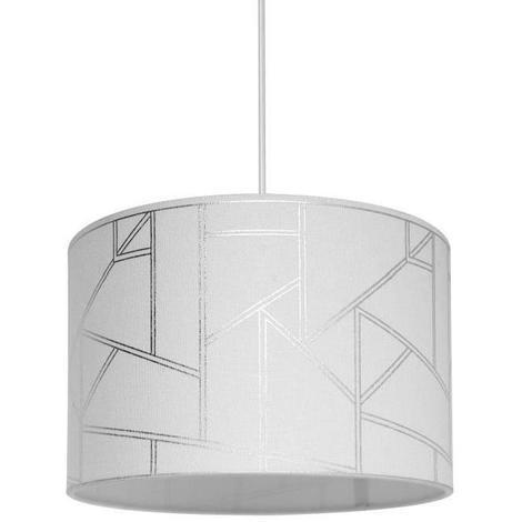 HAROLD Suspension en polyester et coton - Ø30cm x H.20 cm - Blanc - Motif irisé - E27 40 W Seynave
