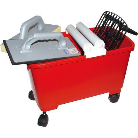 Haromac, Set per lavaggio professionale, 9 pz, Secchio con griglia di fondo, Frattazzo in plastica, 02422423