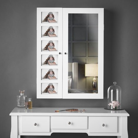 Harper - Wall Mounted/Desktop White Jewellery Mirror Cabinet with Internal LED Lights & Photo Frame Bedroom Makeup Storage