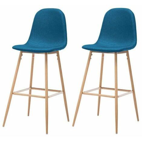 HARRI Lot de 2 tabourets de bar en metal - Tissu bleu - Style scandinave - L 45 x P 54 cm