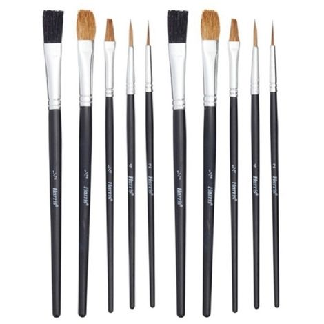 Harris Seriously Good Flat Artist Paint Brushes (Pack of 10) (One Size) (Black)