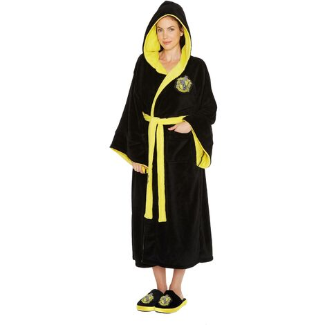 Harry Potter Hufflepuff House Crest Womens Bathrobe Dressing Gown