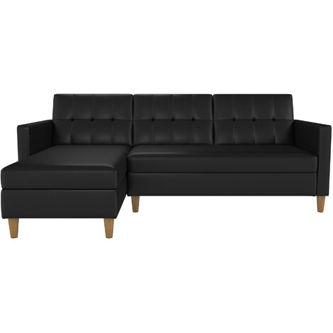 """main image of """"Hartford Sectional Storage Sofa Bed Left Or Right Chaise Black Faux Leather"""""""