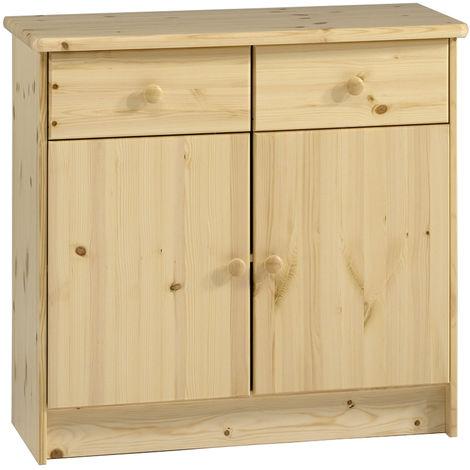 HARTFORD - Solid Wood Storage Cupboard Sideboard with 2 Drawers - Pine