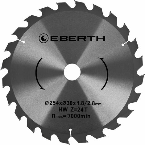 Hartmetall-Kreissägeblatt für Holzschnitte (254 x 1,8 x 16 mm, 24 Zähne, lange Lebensdauer)