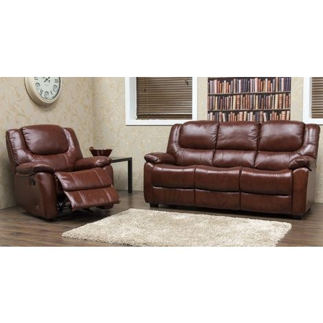 Harvey Reclining 3+1 Leather Sofa Suite Available In Tabak