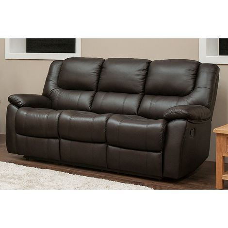 Harvey Reclining 3 Seater Leather Sofa Suite In Espresso Brown