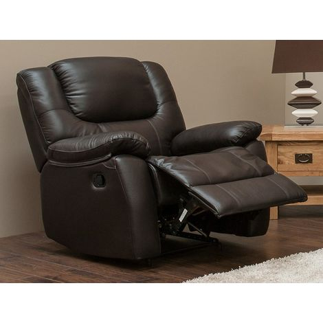 Harvey Reclining Armchair Leather Sofa Espresso Brown