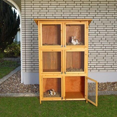 Hasenstall Hasenkafig Kleintierstall Freilauf Freigehege Kaninchenstall Holz 10000973