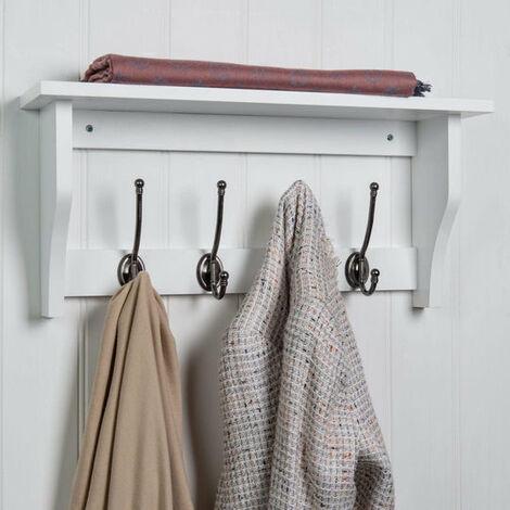 Hat & Coat Hook Storage Shelf Rack - Choice Of Colours & Sizes