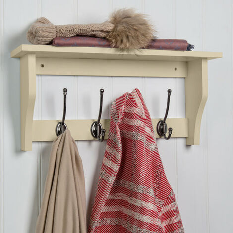 Hat & Coat Hook Storage Shelf Rack - Choice Of Colours & Sizes