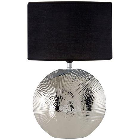 Hattie Table Lamp, Ceramic / Silver Rib Shell, Black Shade