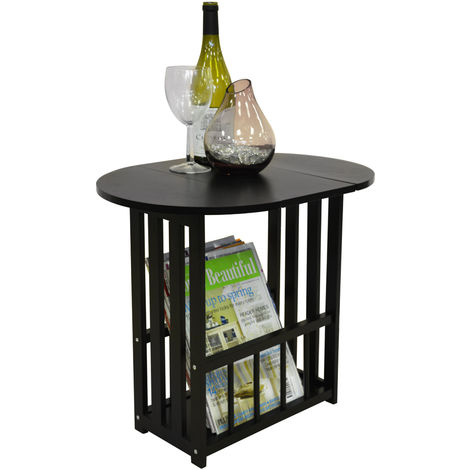 HAUGHTON - Swivel Top Side / End Table with Storage Rack - Black