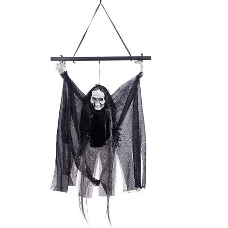 Haunted House Decoration Voice-activated Black Pole Hanging Ghost Horror Scary Hanging Flying Pendant