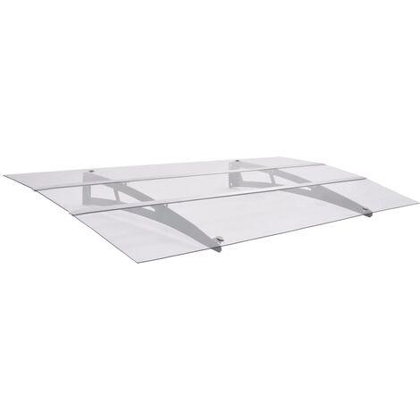 Haustürvordach Silbern und Transparent 150×90 cm Polycarbonat