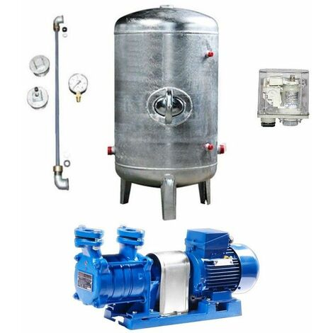 Hauswasserwerk 1,1 kW 230V 91 l/min Druckbehälter 100-495 L verzinkt stehend Druckkessel Set Wasserpumpe Gartenpumpe