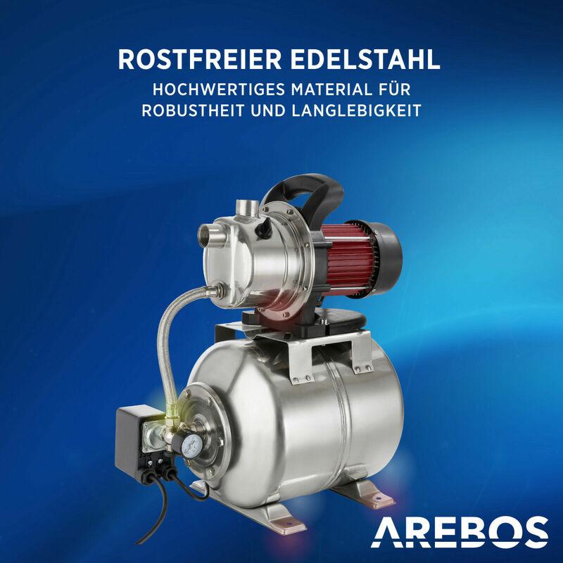 Edelstahl Hauswasserwerk 1200 Watt 3800 l//h Wasserpumpe Pumpe 48 m Gartenpumpe