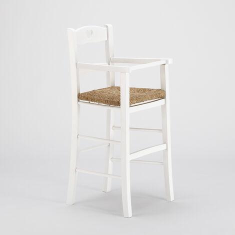 Haut Tabouret pour enfants chaise haute avec assise en paille BABY