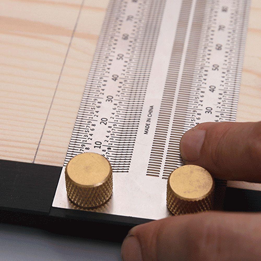 Haute Precision Echelle Regle Type T Trou Regle Inoxydable Travail Du Bois Tracage Mark Ligne Calibre Carpenter Outil De Mesure, 400Mm