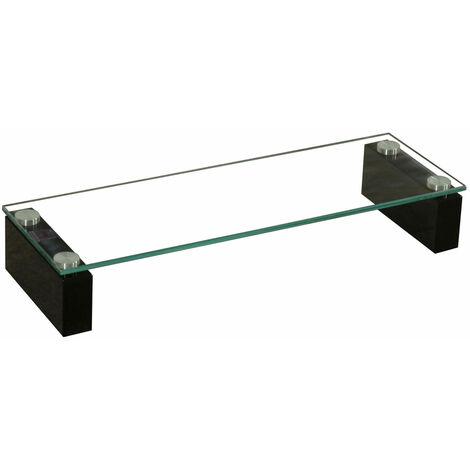 Haute qualité TV verre trempé table tablette stable MDF brillant noir BHP B153147-4