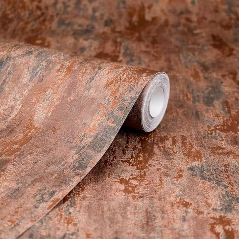 Havana Copper Distressed Industrial Metallic Wallpaper Paste Wall A.S Creation