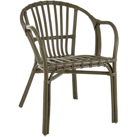 Havana low armchair, rattan, grey colour