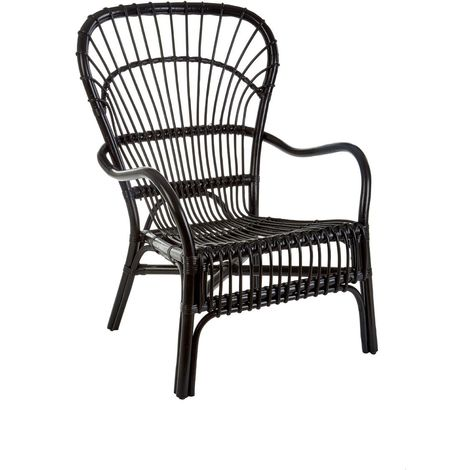 Havana relax chair, rattan, black colour