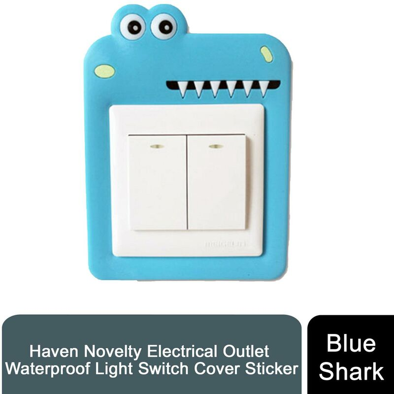 Image of Novelty Electrical Outlet Waterproof Light Switch CoverSticker, Blue Shark - Haven