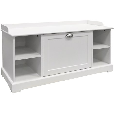 HAVEN - Wooden Hallway 8 Pair Shoe Storage Cupboard / Bench - White