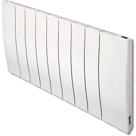 Haverland RC9W Radiateur électrique à haute inertie en fonte d'aluminium 1400W | design double ondulation | Blanc