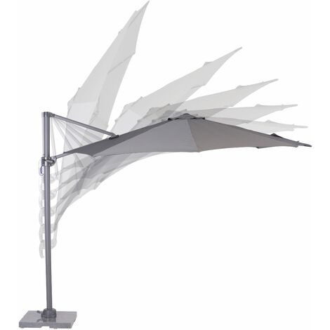 Hawaii S parasol S 300cm Round carbon black/ dark grey with Cross Base