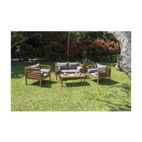 HAWI Salon de jardin 4 places en bois dacacia - 1 canape et 2 ...