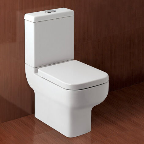 Haywood Modern Ceramic Toilet Pan, Dual Flush Cistern And Soft Close Seat