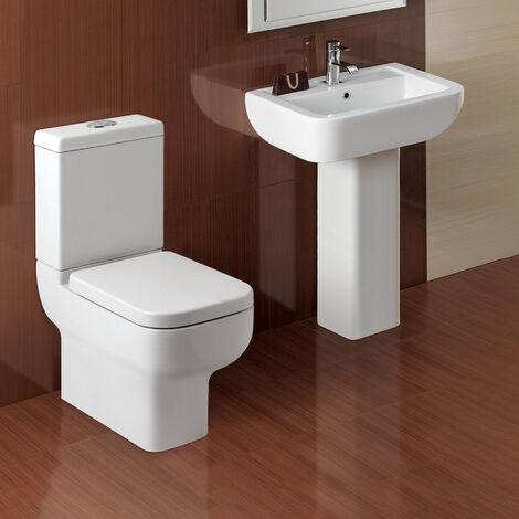 Haywood Modern Ceramic Toilet Pan, Dual Flush Cistern Soft Close Seat With Basin