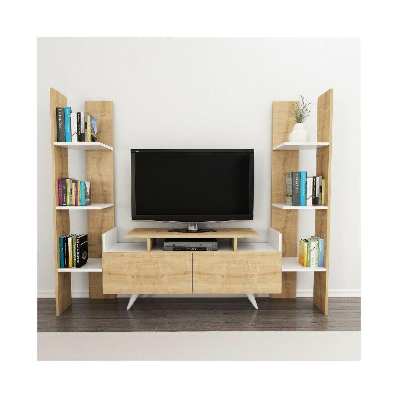 Hazal TV-Schrank mit Tueren, Regalen - aus dem Wohnzimmer - Weiss, Eiche aus Holz, 182,6 x 31,3 x 150 cm