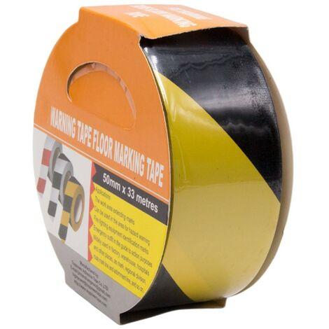 Hazard Warning Floor Tape Social Distancing Marking Out Yellow Black 33m 50mm