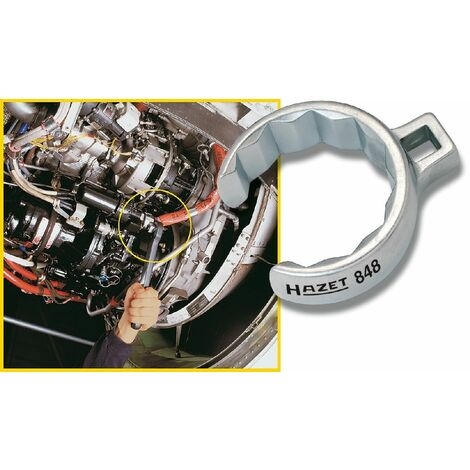 Hazet Clé polygonale, à 12 pans, ouverte - Carré creux 10 mm (3/8 pouce) - Profil à 12 pans extérieurs - Taille: 21 - 848Z-21