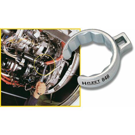 Hazet Clé polygonale, à 12 pans, ouverte - Carré creux 10 mm (3/8 pouce) - Profil à 12 pans extérieurs - Taille: 24 - 848Z-24