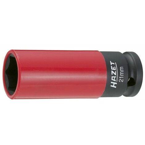 Hazet Douille à 6 pans à chocs - Carré creux 12,5 mm (1/2 pouce) - Profil Traction à 6 pans extérieurs - Taille: 21 - Longueur totale: 85 mm - 903SLG-21