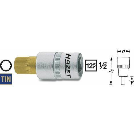 Hazet Douille mâle - Carré creux 12,5 mm (1/2 pouce) - Profil denture multiple intérieur XZN - Taille: M18 - Longueur totale: 85 mm - 990-18