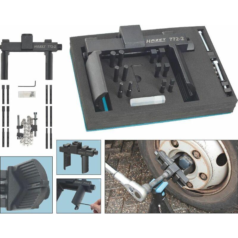 Jeu de clés universelles pour écrou de moyeu de roue et écrou à encoches - Carré creux 20 mm (3/4 pouce) - Nombre d'outils: 16 - 772-2/16 - Hazet