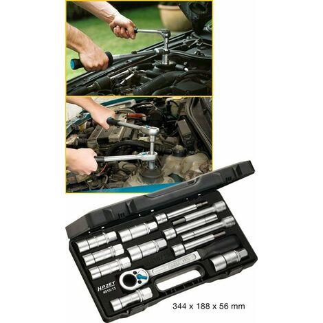 Hazet Jeu d'outils spéciaux pour amortisseur - Carré creux 12,5 mm (1/2 pouce) - Profil TORX intérieur, Profil à 6 pans intérieurs, Profil à pivot creux, Profil à 6 pans extérieurs - Nombre d'outils