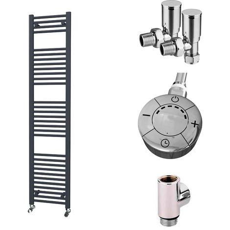 HB Essentials Zena Anthracite Straight Ladder Heated Towel Rail 1800mm x 400mm Dual Fuel - Thermostatic