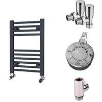 HB Essentials Zena Anthracite Straight Ladder Heated Towel Rail 600mm x 400mm Dual Fuel - Thermostatic