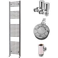 HB Essentials Zena Chrome Straight Ladder Heated Towel Rail 1800mm x 400mm Dual Fuel - Thermostatic