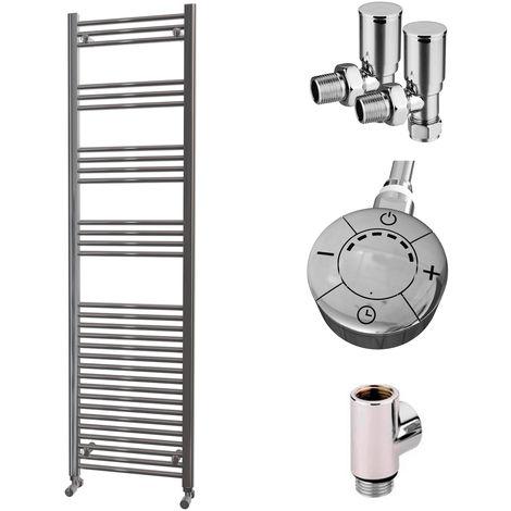 HB Essentials Zena Chrome Straight Ladder Heated Towel Rail 1800mm x 500mm Dual Fuel - Thermostatic