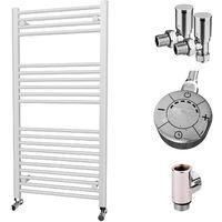 HB Essentials Zena White Straight Ladder Heated Towel Rail 1200mm x 600mm Dual Fuel - Thermostatic