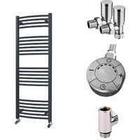 HB Essentials Zeno Anthracite Curved Ladder Heated Towel Rail 1400mm x 500mm Dual Fuel - Thermostatic