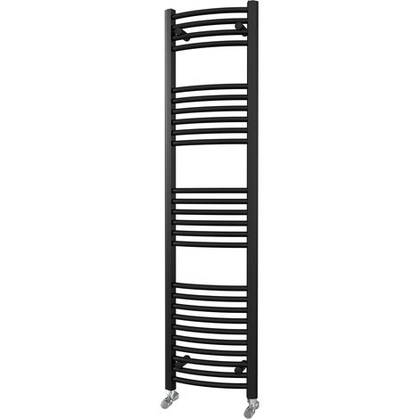 HB Essentials Zeno Black Curved Ladder Heated Towel Rail 1600mm x 400mm Central Heating